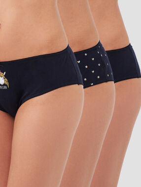 Lot de 3 shortys en coton marine.