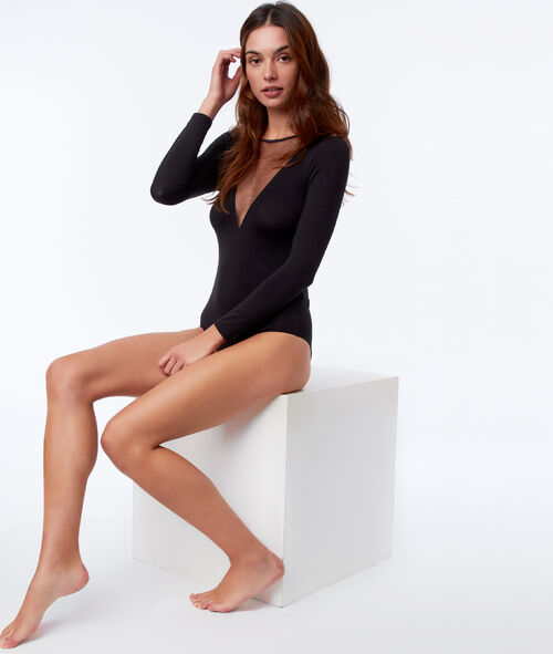 Body manches longues col transparent