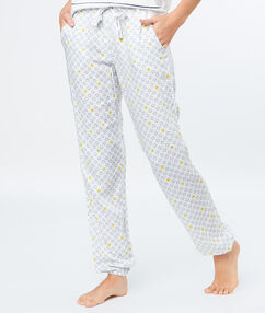 Pantalon imprimé smiley blanc.