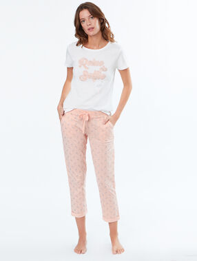 Pantalon imprimé flamands roses pailletés rose.