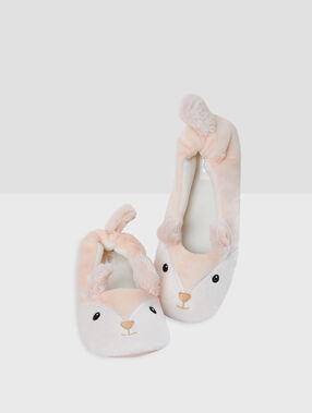 Chaussons ballerines animalères rose.