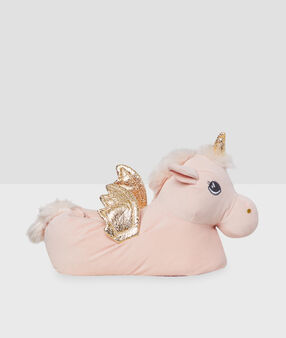 Chaussons licorne rose.