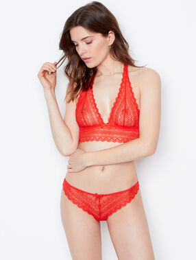 Tanga dentelle orange.
