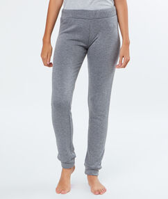 Legging en molleton fourré gris.