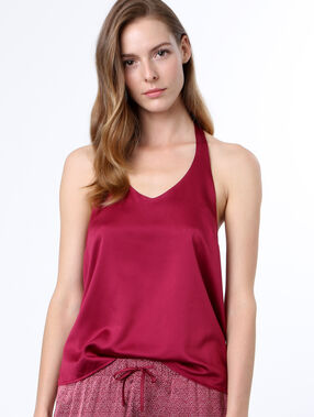 Top satin dos dentelle bordeaux.