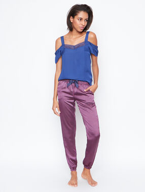 Pantalon satin imprimé rose.