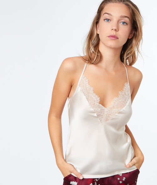 Top satin dentelle
