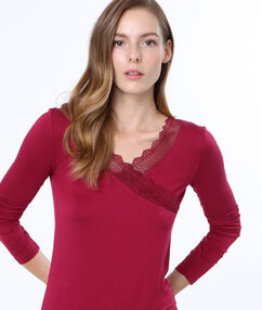 Top viscose dentelle bordeaux.