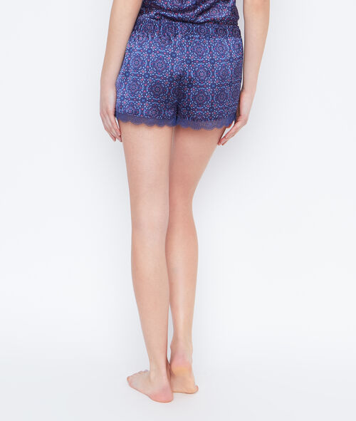 Short satin imprimé