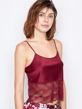 Top satin dentelle bordeaux.