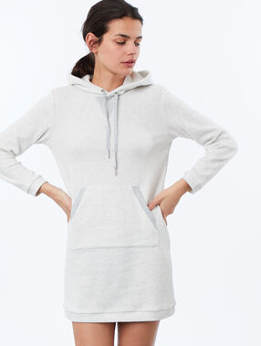 Robe sweat homewear en molleton ecru.