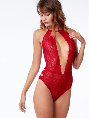 Body dentelle, bandes sporty rouge.