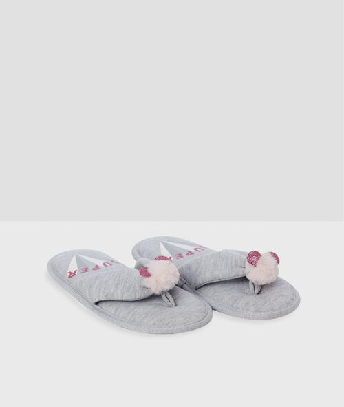 Chaussons tongs pompons