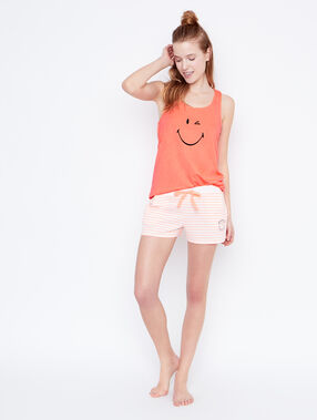 Short smiley rayé orange.