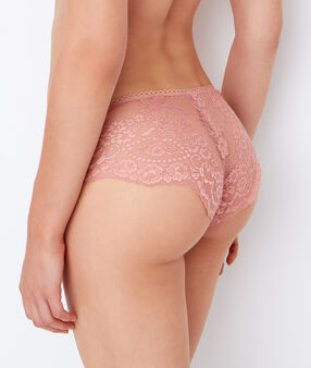 Shorty en dentelle florale rose.