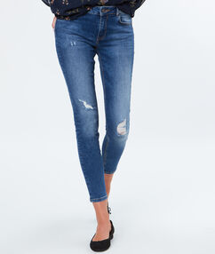 Jean slim en coton denim clair.