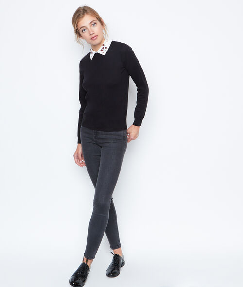Pull manches longues col claudine