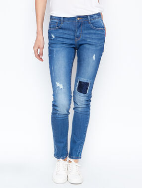 Jean slim empiècement strass denim.