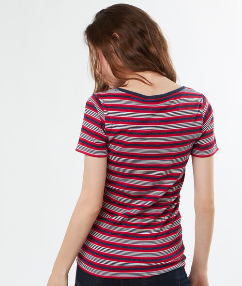 T-shirt col V rayures multicolores