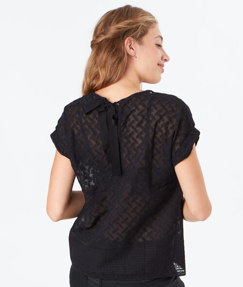 Top transparent à broderies
