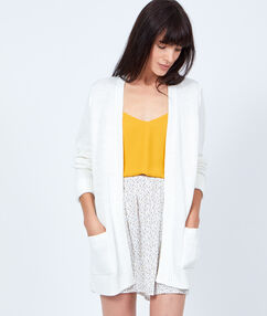 Gilet long grosse maille blanc.