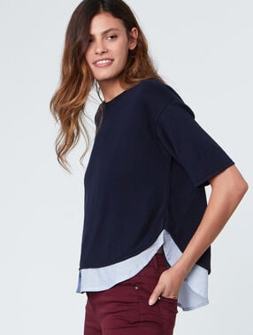 Pull manches courtes doublure chemise bleu marine.