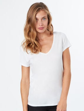 T-shirt simple col v blanc.