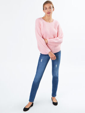 Pull grosse jauge col rond rose.