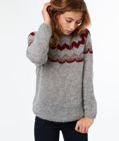 Pull col rond jacquard gris.
