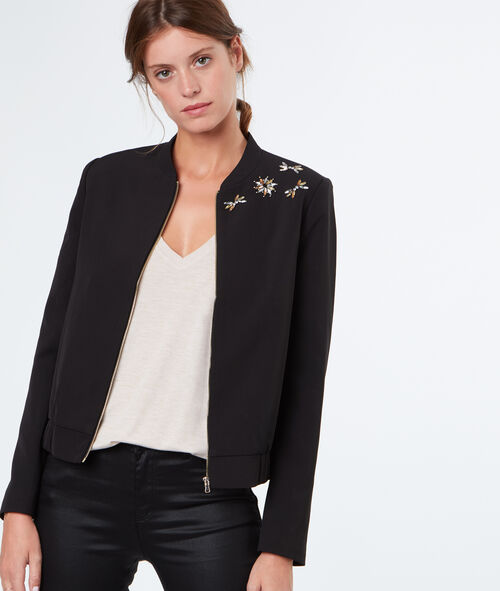 Veste chic empiècements strass