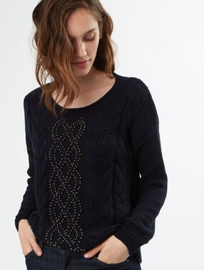 Pull tricot col rond 100% coton bleu marine.