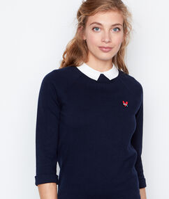 Pull col claudine manches 3/4 bleu marine.