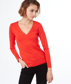Pull tricot col v