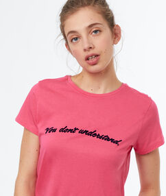 T-shirt col rond rose.