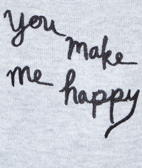 "Pull en maille, inscription ""You make me happy"""
