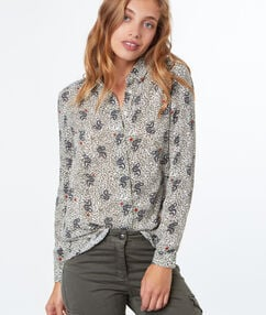 Blouse imprimée serpents kaki.