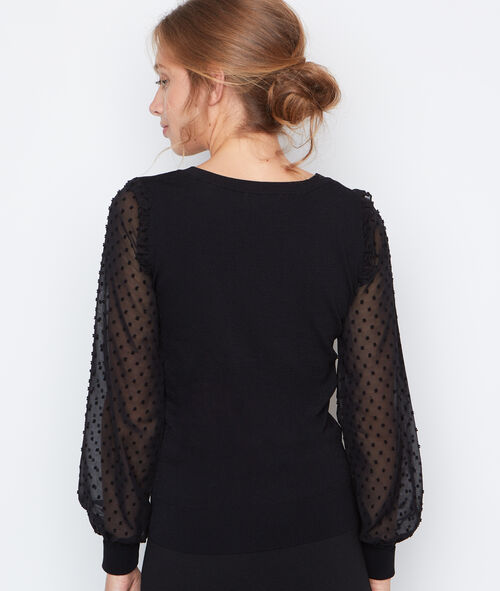 Pull manches longues plumetis