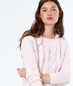 Pull torsade col rond blush.