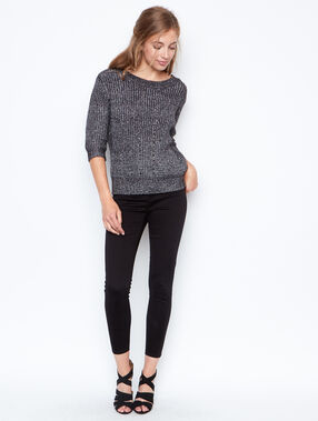 Pull manches 3/4 gris.