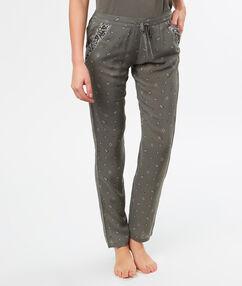 Pantalon imprimé gris.