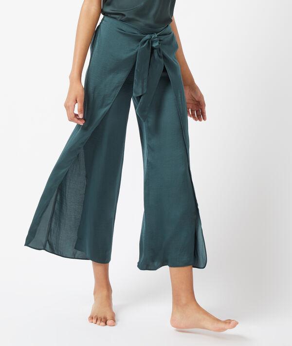 Pantalon fendu sur les côtés, noué devant;${refinementColor}