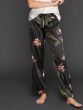 Pantalon large satiné imprimé floral kaki.