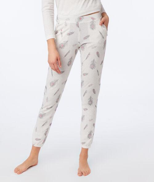 Pantalon imprimé plume