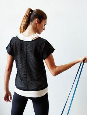 T-shirt 2 en 1 résille noir.