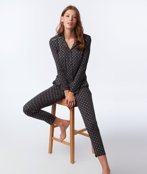 Chemise de pyjama motifs cœurs et étoiles