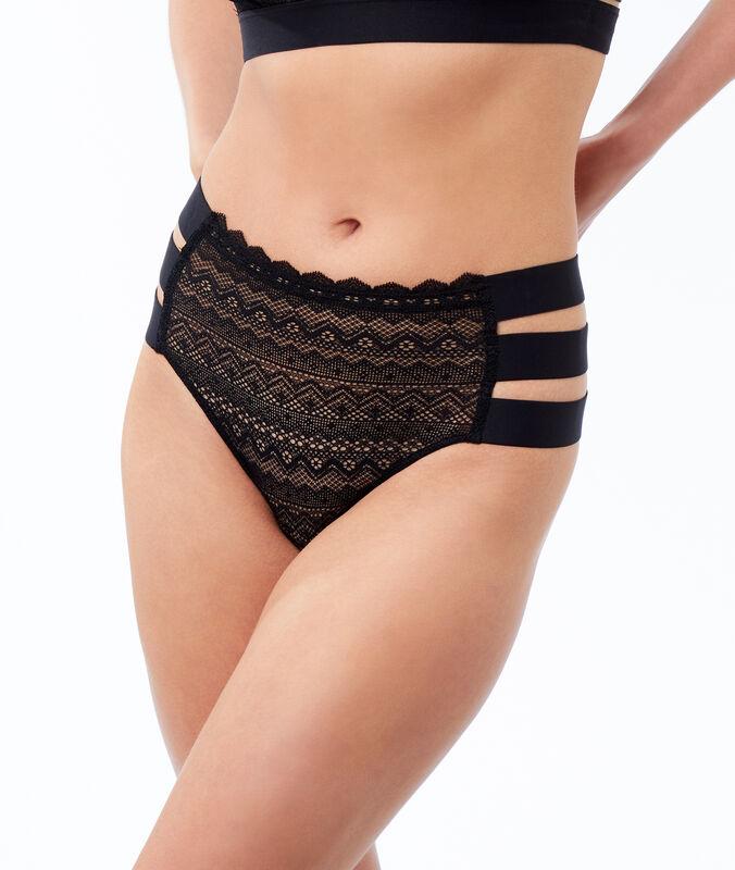 Culotte taille haute en dentelle, 3 bandes noir.