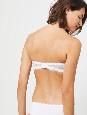 Soutien-gorge bandeau en dentelle blanc.