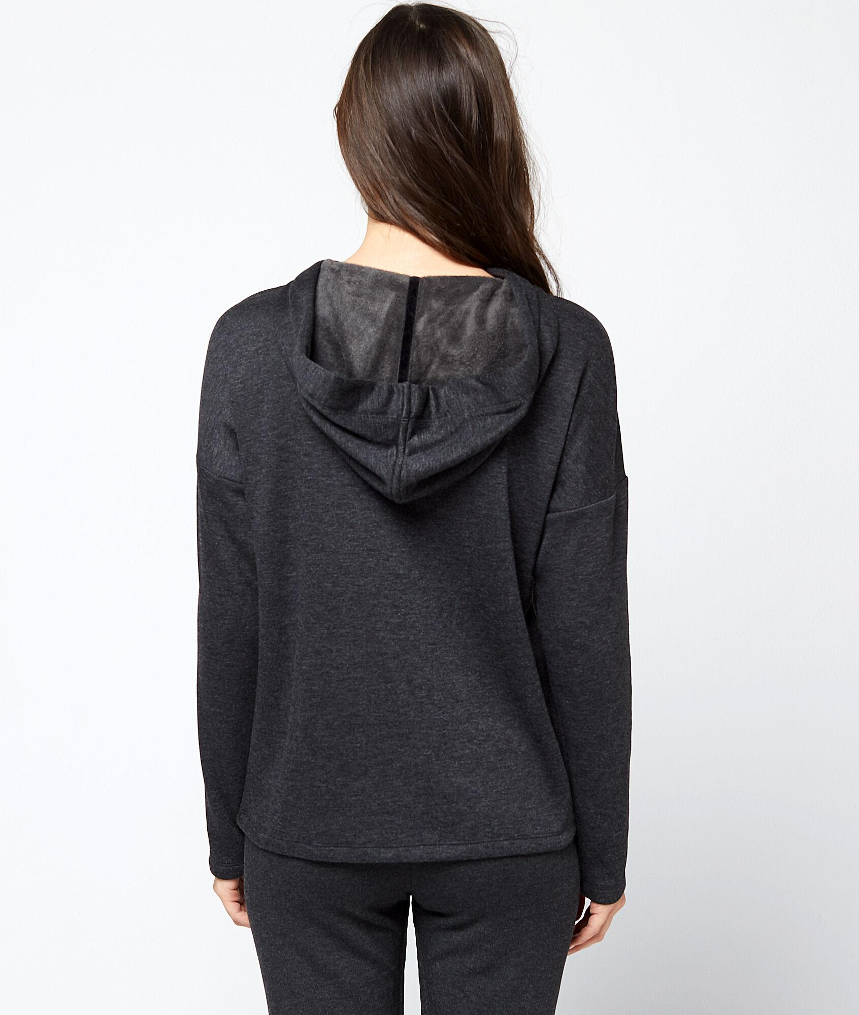Sweat homewear à capuche liens velours