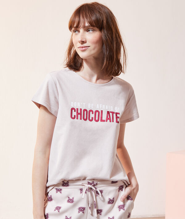 "T-shirt ""Don't be afraid of chocolate"";${refinementColor}"