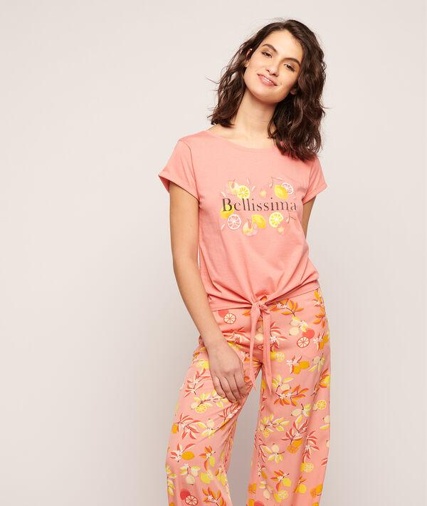 """T-shirt à nouer imprimé """"Bellissima"""";${refinementColor}"""
